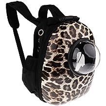 MagiDeal Mochila Diseño de Ventana Semiesfera Transparente Artículos para Mascotas Bolsa Viajes Perro Gato - Leopardo