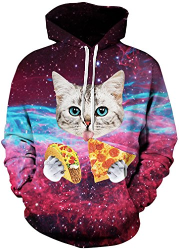 TDOLAH Herren Kapuzenpullover Schwarz Sweat Hoodie Digitaldruck Sweatshirt Pullover Katze Pizza