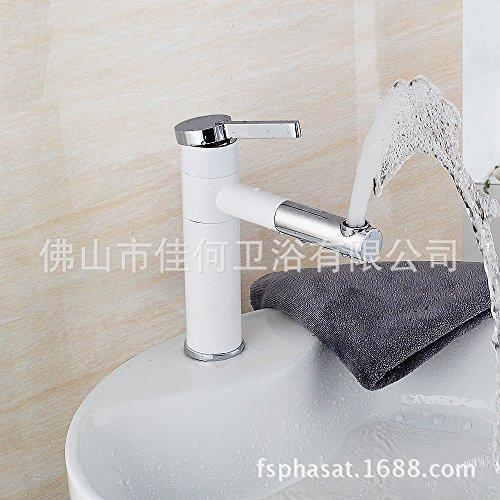Furesnts moderne Küche zu Hause und Waschbecken Armaturen alle Bronze white paint Waschtischmischer Düse kann gedreht werden, um das Wasser aus dem Gesicht waschen Mixer Waschbecken Armaturen,(Standard G 3/8 universal Schlauch Anschlüsse) (Um Gesicht)