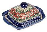 Traditionelle Polnische Keramik, handgefertigte Butterdose mit Deckel mit Muster im Bunzlauer Stil (Gewicht 850g) B.101.CRANBERRY