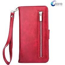 Custodia portafoglio BORA iPhone 7 PLUS con custodia posteriore smontabile, slot per carte, tasca di contanti, visione facile, stile Folio, protegge lo schermo dal graffio.