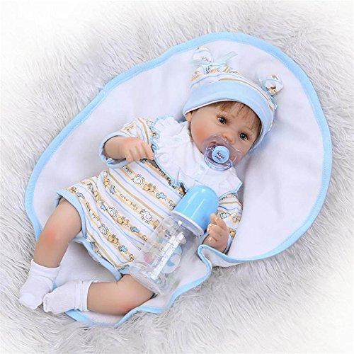 Weiche 16'' lebendig Real wie neugeboren Ernährung Baby lebensechte Puppen Silikon Puppen Reborn Babys tragen Baby Kleidung Fashion Kids New Born Weihnachtsgeschenke, braunen Augen?16 Zoll 40 cm für Patienten mit Angststörungen