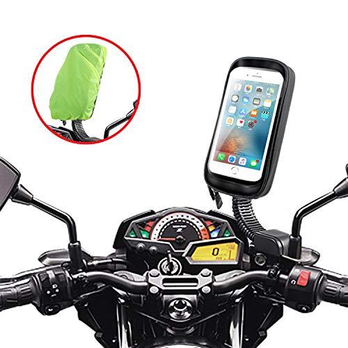 ENONEO Motorrad Handyhalterung Wasserdicht 360° Drehbar Motorrad Smartphone Halterung mit Regenschutz Motorrad Handy Halterungen Rückspiegel für iPhone X/XS Max/XR/Samsung S8/S9 bis zu 6,7' (Schwarz)