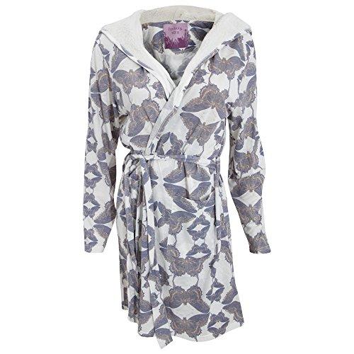 Robe de chambre imprimée à capuche - Femme Crème