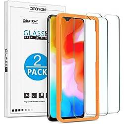 OMOTON Protector Pantalla OnePlus 6T Cristal Templado OnePlus 6T, 2.5D Borde, 6.41 Pulgadas, 9H Dureza, Anti-arañazos, Anti Burbujas, con Marco Guía [2 Piezas]