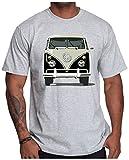 OM3® - Peace Bus Grau - T-Shirt Classic Kult Bus Retro Hippie Flower Power Mobil Vintage, XXL, Grau Meliert