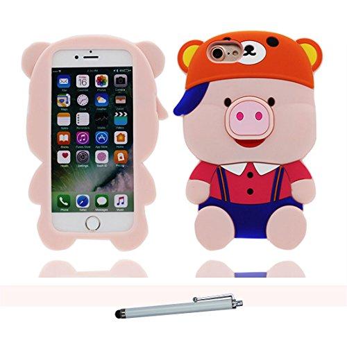 iPhone 6S Plus Custodia, iPhone 6 Plus Copertura 5.5, TPU durevole Case Cartoon 3D Cover & penna di tocco - Cartoon pollo maiale Lovely / Flessibile - Pig / resistente alla polvere # 7