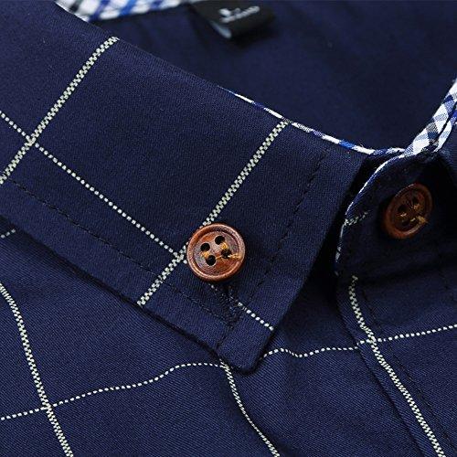 Kuson Herren Hemd Langarm Kariert Freizeit Hemd Baumwolle Button-down Navyblau S