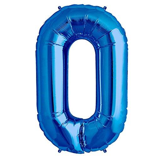 Bleu Numéro '0' Ballon Aluminium Forme - 86.4cm / 86cm