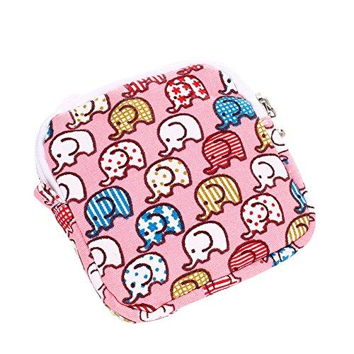 gzzebo Estuche para tarjetas de visita con monedero en algodón y lino. Elefante rosa