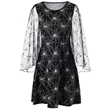 Halloween Lange Ärmel Mesh Spinnennetz Drucken Kleid Frauen lose Party Cobweb Print Garn-Spinnennetz Damen,Reizvolle Langarm Aufflackern-Hülsen A-Line Partykleid Kleider Abendkleid