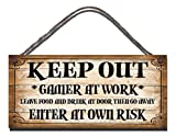 Wooden Funny Sign Keep Out Gamer At Work Leave Food And Drink At Door And Go Away Enter At Own Risk Shabby Chic Birthday Occasion Wall Plaque Gift Present by Gigglewick Gifts