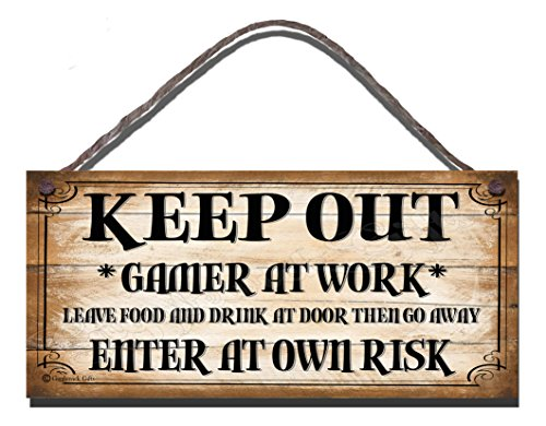 'Keep Out, Gamer at Work' Wooden Funny Sign
