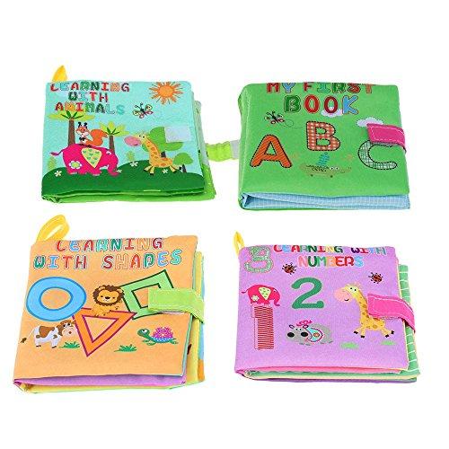 Tenlacum 4pcs libro giocattolo del bambino primo tessuto libro panno morbido lavabile libro Squeak Rattle Crinkle per lo sviluppo intellettuale del bambino