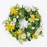 Künstlicher Frühlingskranz mit Margeriten, Rudbeckia, gelb,  30 cm - Dekokranz / Türkranz - artplants