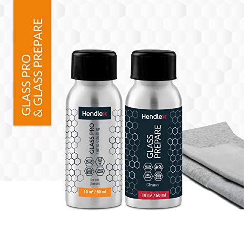 Nano Glas Beschichtung Regen Abweiser Hendlex Glas PRO 50ml   Autoscheiben Nano Versiegelung Scheibenreiniger Fenster Lotuseffekt (50ml + 50ml) -