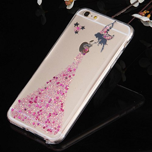 iPhone 8 Plus Hülle,iPhone 7 Plus Hülle,JAWSEU [Bling Glitzer Hülle] iPhone 8 Plus Silikon Hülle, Bling Funkeln Glänzend Glitzer Kristall Stern Muster Stoßdämpfend Transparent TPU Silikon Schutz Handy Fee Rosa