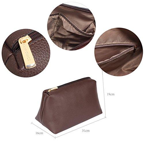 LeahWard Frauen Faux Leder Umhängetasche Tragetaschen Handtaschen für Frauen Schulferien CW190 (Burgund Hobo Tasche mit Faux Pelz Charm) Kaffee Hobo Tasche mit Faux Pelz Charm