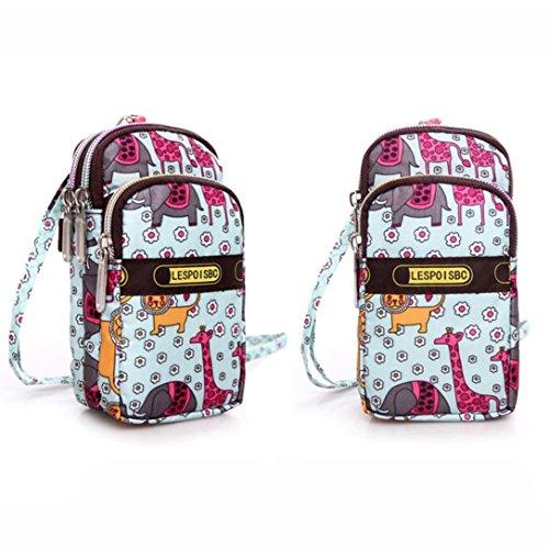 Handgelenk Tasche, CraftsDi Damenmode im freien ändern handytasche Druck Reißverschluss Sport Umhängetasche Mini Handgelenk Geldbörse Brieftasche D