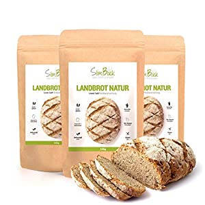 SlimBack - LOWER CARB LANDBROT Natur - 3er Pack - Brot Backmischung ohne...