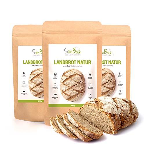 SlimBack - LOWER CARB LANDBROT Natur - 3er Pack - Brot Backmischung ohne Getreide für ca. 1,4kg Brot   Extra gut Bekömmlich   Eiweissbrot Glutenfrei   Keto - Paleo   Hergestellt in Deutschland