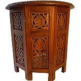 Beistelltisch 2-teilig mit achteckigem Unterteil 31 cm Schnitzerei Möbel Tisch Ablage