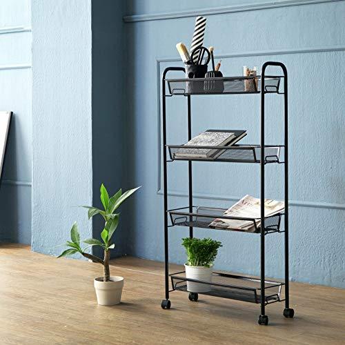 Shelves Duo Bücherregal 3/4 Tier-Gebrauchs-Wagen, Küchen-Lagerung mit rollenden Rädern, Metallmaschen-Draht-Korb-Laufkatze für Küchen-Badezimmer Hängeregal, (Farbe : SCHWARZ, größe : 4Tier) -