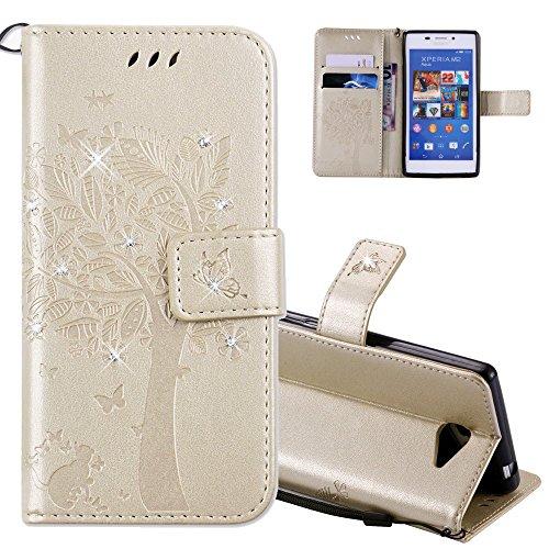 EMAXELERS Sony Xperia M2 Hülle Flip Schale Brieftasche Standfunktion und Karte Halter Etui Kartenfächer Wallet Tasche Etui für Sony Xperia M2,Gold Diamond Wishing Tree