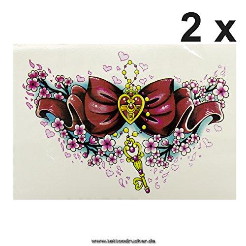 2 x Herz Schleife Schlüssel Blüten Tattoo - Fake temporäres einmal XL Körpertattoo HB-520 (2)