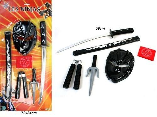 GYD Ninja Spiele-Set Ninja Kostüm mit Schwert Maske Tuch Nunchaku Sai-Gabel (Schwert Kostüme)