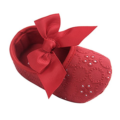 Lacofia Baby Mädchen Prinzessin Bowknot Rutschfest Weiche Sohle Krabbelschuhe Rot 6-12 Monate Rot 12