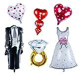 YeahiBaby 6pcs Hochzeit Hochzeit Folienballon Herz Hochzeitspaar Luftballon Foto Requisiten Party Dekoration