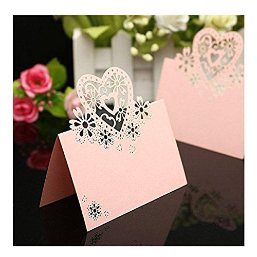 Musuntas 50Tlg Liebe Herz Laser Schnitt Namenskärtchen / Platzkarte / Namensschild / Sitzkarte / Namenskarte / Tischkarte / Tischkärtchen für Hochzeiten Feste oder Partys (rosa)