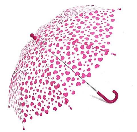 Kinder Regenschirm Stockschirm transparent durchsichtig Herzen Mädchen klein