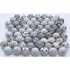 Möbelknöpfe, Keramik, handbemalt, Grau/Weiß, 25 Stück