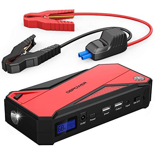 DBPOWER 600A 18000mAh Tragbare Auto Starthilfe Autobatterie Anlasser, Akku Ladegerät mit Kompass, LCD Display und LED Taschen für Laptop, Smartphone(Schwarz/Rot)