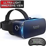 pansonite 3D VR Brille Virtual Reality Headset für Spiele & 3D Filmen, Leicht mit Verstellbarem Schüler und Objekt Abstand für iOS und Android Smartphone, Dunkelblau