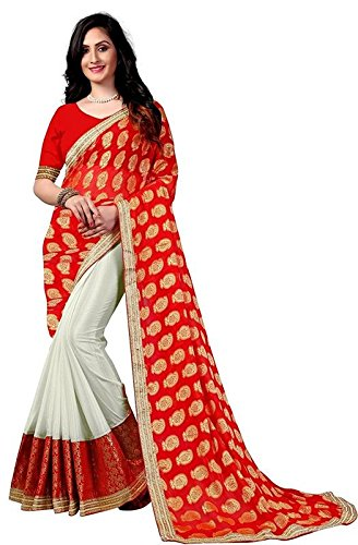 Saree Center Chiffon Saree With Blouse Piece (Sc_Red Booty_Red_Free Size)