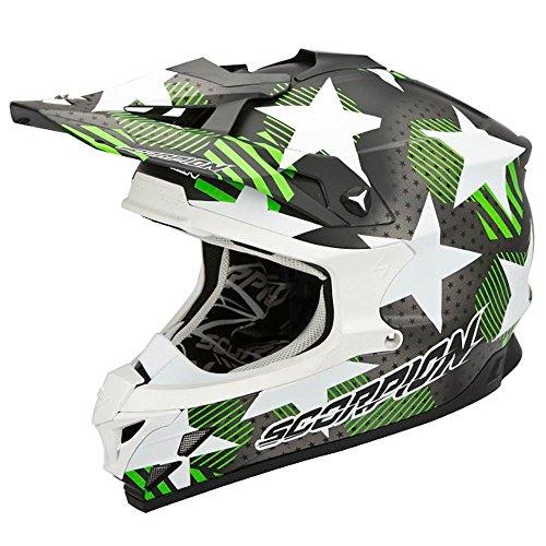 Casco Cross Enduro Scorpion Moto VX 15Evo Air Stadium, talla XL con sistema Airfit acolchado, color verde