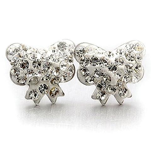 Bishiling 925 Sterling Silber Ohrringe für Damen Bowknot Kristall Zirkonia Weiß Ohrstecker