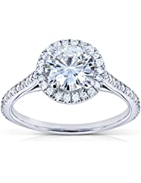 Redondo Moissanite y Diamond Halo anillo de compromiso 11/4quilates en 18K oro blanco _ 6,5