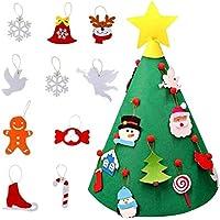 Mignon84Cook Árbol de Navidad de fieltro de bricolaje 3D con 18 piezas de adornos de Navidad