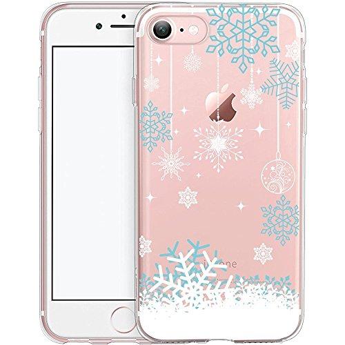 iPhone 7 Hülle, TrendyBox Weiche TPU Ränder mit hartem PC Rückdeckel Schutzhülle Hülle für iPhone 7 (Schneeflocken)