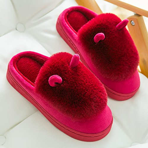 DogHaccd pantofole,Il cotone pantofole in autunno e inverno coppia femminile home caldo fondo spesso della camera bella confezione con eleganti pantofole scarpe inverno Vino rosso