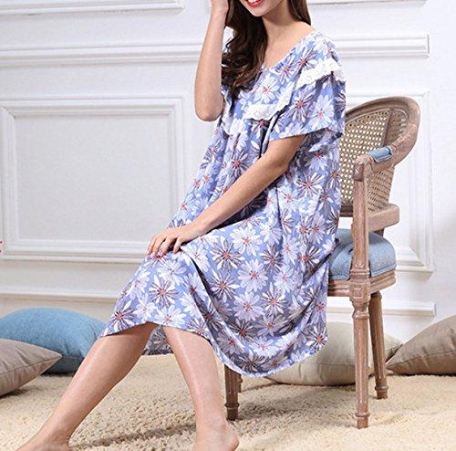 Mme été Autour Du Cou Décontracté Longues Pyjamas Chemises De Nuit En Vrac purple
