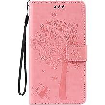 HTC Desire 825 Wallet Case Cover - Cozy Hut [New Style] Ultra Slim Cuir Coque Pour HTC Desire 825 Flip Peinture Chats et arbre Motif PU Étui Portefeuille Housse Etui Holster - rose