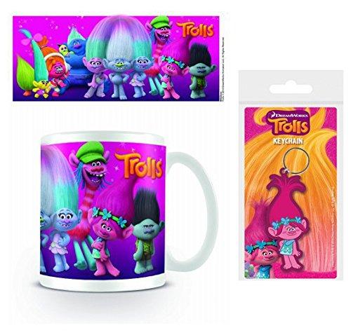 Set: Trolls, Characters Foto-Tasse Kaffeetasse (9x8 cm) Inklusive 1 Trolls Fan-Schlüsselanhänger...
