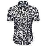 Fuibo Vêtements Chemise Manches Courtes Homme sans Repassage Facile Slim Fit Casual Business Léopard Coupe Parfaite Bouton Down Blouse (XXXL, Blanc)