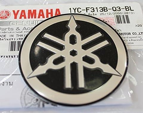 100% GENUINE 55mm Diamètre YAMAHA TUNING FOURCHE Autocollant Emblème Logo noir / ARGENT surélevé bombé Alliage Métallique Construction Autoadhésif Moto / Jet Ski / ATV / Motoneige