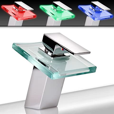 LED Light Bathroom Faucet Waterfall Bath Sink Tap Single Lever Mixer incl. Mounting Material